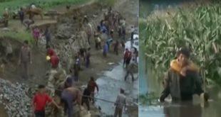 北韓因獅子山颱風造成嚴重水災,約10萬7,000人被迫逃離家園。(圖片來源:翻攝自youtube)