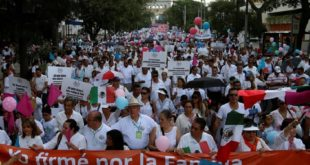 墨西哥各地10日有數十萬人上街,抗議總統潘尼亞尼托所提全國同性婚姻合法之提案。(圖片來源/翻攝自網路)