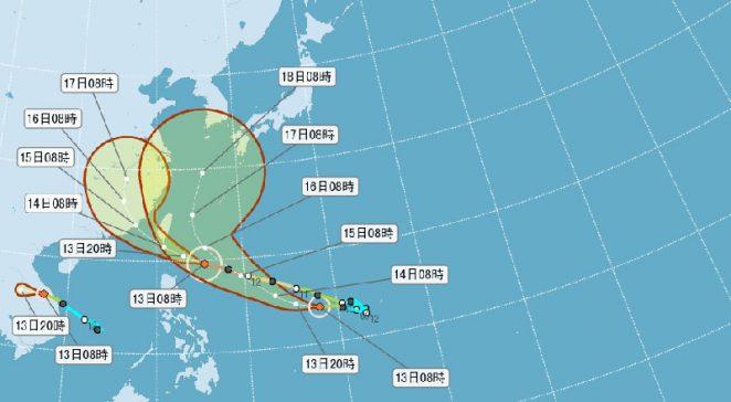 強颱莫蘭蒂威力強大,根據中央氣象局預測,颱風中心通過陸地的機率低。 圖片來源:中央氣象局