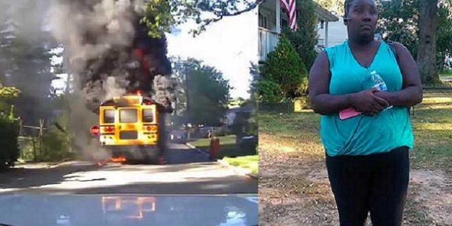 校巴女司機史密斯(圖右)不顧生命危險 ,在起火的校車中,勇救20童。(圖片來源/翻攝自網路)