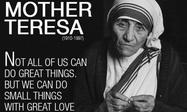 德蕾莎修女曾說:也許我們不能做偉大的事,但我們可以用偉大的愛做平凡的事。(圖片來源:inspirationboost)