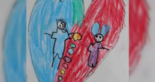 南投縣一名5歲女童被爸爸託付給同事照顧,卻驚傳被虐死。圖為該女童的畫作。(翻攝網路)