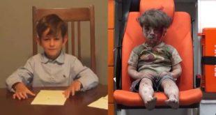 美國紐六歲美國男童艾力克斯,寫信給美國總統歐巴馬,希望他能幫忙將敘利亞難民歐姆蘭帶到他家,當他的兄弟。(圖片來源/翻攝自網路 )