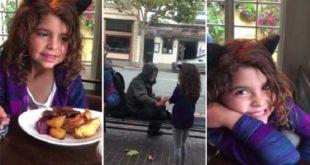 美國加州一位8歲女童艾拉,將食物分享給街友的善行,感動了4千萬的網民。(圖片來源/翻攝自網路)
