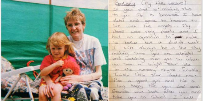 英國母親留給女兒的遺書,感動無數網友的心。(圖片來源:http://www.dailymail.co.uk/)