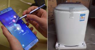 繼手機Note7傳出爆炸事件,消費者也爆料三星的頂開式洗衣機在自家爆炸。(番社網路)