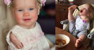 瓦西麗亞(Vasilina)生下來就沒有手臂,吃飯的時候必須用雙腳代替雙手。(翻攝臉書)