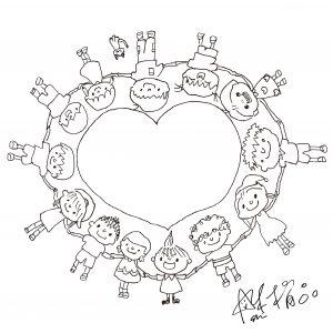 愛心大使阿喜為「擁愛寶盒」親手繪製的圖稿。(圖片來源:忠義基金會提供)