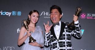 Sandy與吳宗憲獲獎後說道:「我們是演藝圈裡面第一對父女檔一起得獎!」。(圖片來源:金鐘51提供)