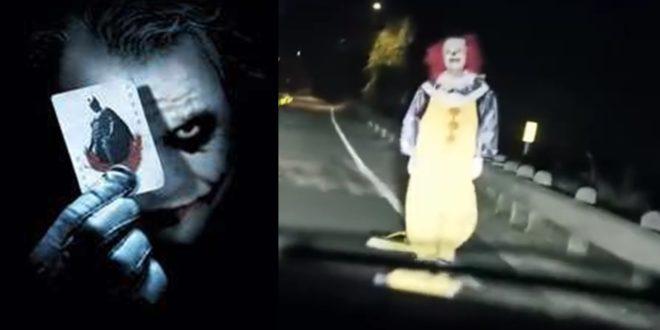 英美地區的民眾最近流行戴著詭異的小丑面具,隨機到街頭上惡作劇驚嚇路人,甚至動手傷人。(圖片來源:左圖翻攝自蝙蝠俠小丑臉書,右圖翻攝自youtube )