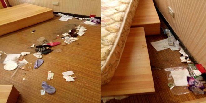 2名在外租屋的台大女學生,最近退租搬家,女學生跟房東說垃圾已經清理乾淨了,但實際上卻把垃圾偷偷塞在床底下,沒帶走。(圖片來源:翻攝自爆料公社臉書)