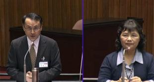 大法官被提名人黃昭元(左)20日在立院備詢時,表態支持同性婚姻。  圖片來源:影片截圖