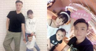 阿沁和模特兒花花於2014年公證結婚,女兒小花苞已2歲多。(合成圖,圖片提供:翻攝FIR阿沁臉書)