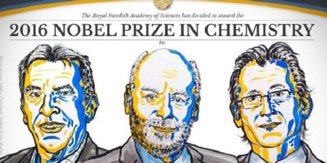 3位學者因聯手打造「分子機器」,共同獲得今年諾貝爾獎化學獎。(圖片來源/翻攝自諾貝爾獎官網)