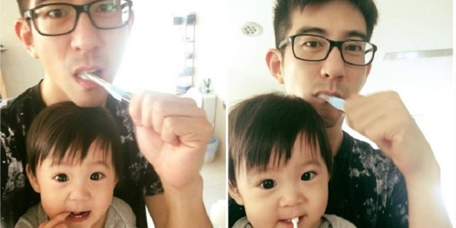 可愛的咘咘,長出兩顆牙了,大家發現到了嗎?!(圖片來源/翻攝自修杰楷臉書)