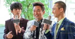吳宗憲(中)與浩角翔起首度合作,今年一起主持第51屆電視金鐘獎頒獎典禮。(陳得安攝)