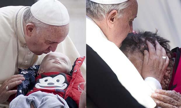 方濟各面對祈福民眾來者不拒,大方地親吻他們。(合成照/每日郵報)