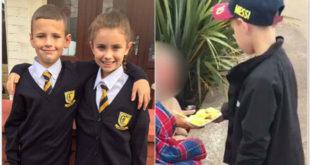 英國小姊弟妮可和路易超有愛心,將他們的零用錢買食物給街友吃。(圖片來源:http://www.dailymail.co.uk/)
