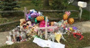 位於長島的布蘭伍德高中,一個月內已連續發生4起幫派暴力兇案,民眾在他們葬身之地獻上物品,祈禱他們死後安息。(圖片來源/翻攝自網路)