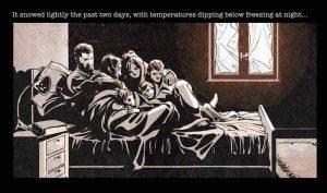 天氣冷了,全家人只能擠在同一張床上取暖。(圖片來源/翻攝自網路)