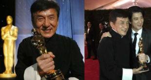 歌手王力宏(右圖右)特地到場恭賀,與成龍手握小金人合影。(合成圖,圖片來源:翻攝成龍 Jackie Chan、王力宏 Wang Leehom臉書)