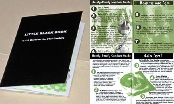 《黑色小書:21世界的酷兒》為高中生教材,書上充滿裸露的性器官,教導男性如何彼此口交及自慰。(照片摘自massresistance)