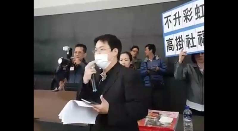 搶救台灣希望聯盟代表人,高喊罷免林佳龍,引起現場民眾歡呼。(圖片來源:搶救台灣希望聯盟臉書)