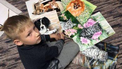 Photo of 俄羅斯9歲男童畫寵物肖像 義賣所得買飼料送浪浪