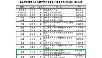 Photo of 北市遴選性平委員竟被貼「反性平」標籤 曾獻瑩:反對同運霸權!